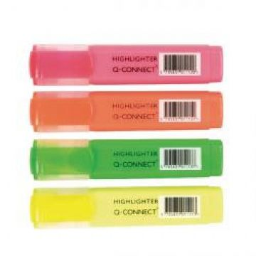 Highlighter Pens - Chisel Tip Assorted Colours<br>Pack of 4